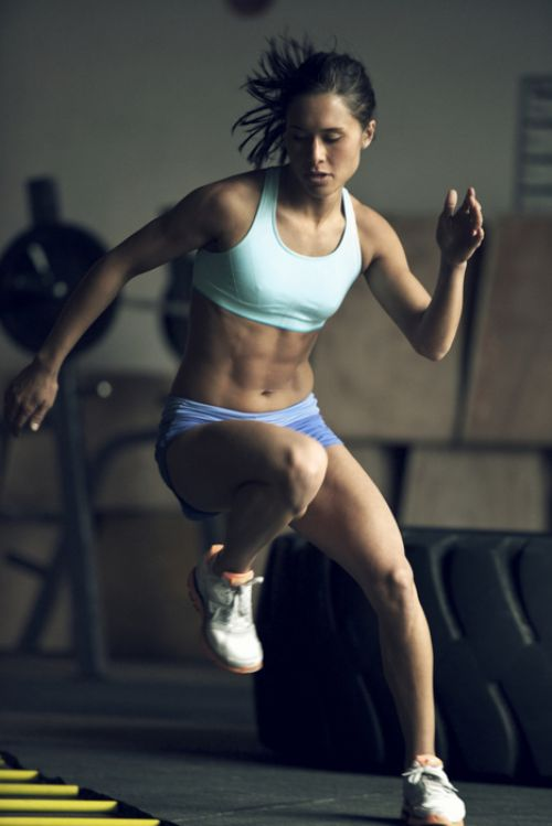 In shape woman exercising