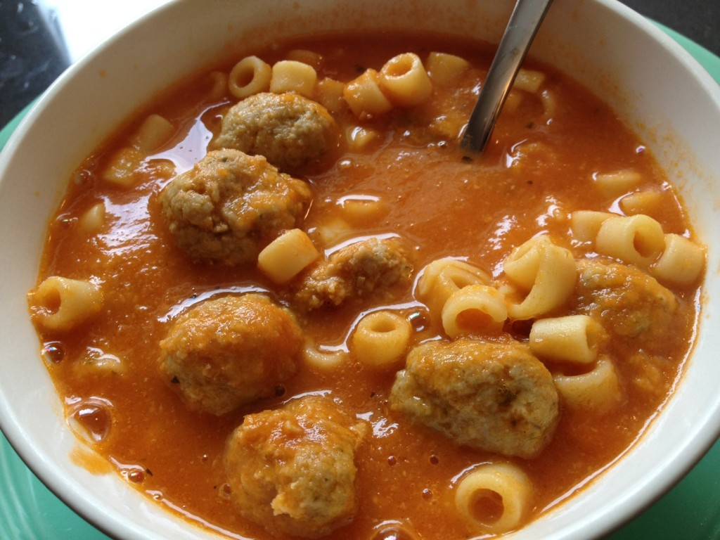 Tomato Soup with Chicken Meatballs and Pasta